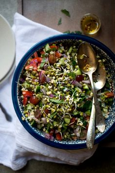 mung-sprout-salad, plus how to sprout