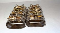Gold and Silver Plated Napkin Rings with Bows Home and Garden Decor Napkin Rings