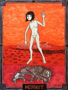 The #Hermit #tarot illustration by #SethStyles explores #isolation in symbols such as a prehistoric #astronaut #bogman and a plastic #mannequin on the surface of Mars.