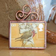 Little Bird on Yellow Postage Stamp Ornament by ogdenarthaus,