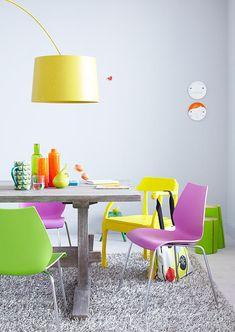 yellow lamp, neon glass, yellow chair | hybrid