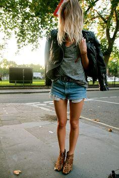"Blogger Lucy Williams from ""Fashion Me Now"" | Quilted leather biker jacket 'Marlon' (Whistles). Denim cut-offs (Levi's). T-shirt (LNA). Pony skin boots (Bertie). Belt (Topshop). Bag (Céline)."