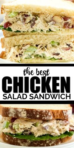 Easy and delicious, this classic chicken salad sandwich recipe is a yummy creamy and crunchy lunch favorite! Easy and delicious, this classic chicken salad sandwich recipe is a yummy creamy and crunchy lunch favorite! Salat Sandwich, Chicken Salad Recipes, Recipe Chicken, Chicken Salads, Tea Sandwiches, Greens Recipe, How To Make Salad, Food Preparation, Cooking Recipes