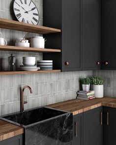Characterized by unique textures and variations, the Magma collection draws upon history to create a world of inspiration ✨🌎   We love the tile pattern in this design! How would you lay the tiles in your designs?   Stone Kitchen, Kitchen Tile, Kitchen Cabinets, Bathroom Floor Tiles, Wall Tiles, Tile Floor, Barn Bathroom, Nordic Kitchen, Bleu Pastel