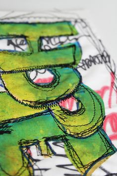sewing graffiti for kids shirt. Scroll to the right to see how it's done. Free Motion Embroidery, Free Motion Quilting, Hand Embroidery, Machine Embroidery, Embroidery Fonts, Fabric Painting, Fabric Art, Textiles, Graffiti Lettering