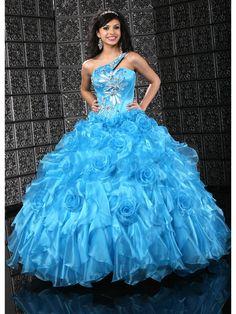 Amazing One-shoulder Floor Lnength Ball Gown Quinceanera Dress