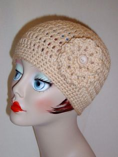 Handmade Adult Crochet Hat with Flower in Beige Color 25 More Colors to Choose From $20