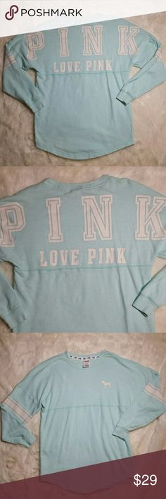 """VS PINK Oversized Varsity Crew Neck Sweater XS VS PINK Oversized Varsity Crew Neck Sweater, size XS. Pale mint in color. White graphic design on the back and Labrador silhouette on the front. Minor piling gives off a vintage vibe. Lightweight and oversized.  Size XS but oversized and roomy.   Measurements  Pit to Pit 19.5"""" Top of shoulder to bottom hem 28"""" PINK Victoria's Secret Sweaters Crew & Scoop Necks"""