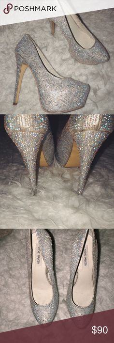 Fully Diamond Filled Pumps Steve Madden pumps that are covered in silver diamond sparkles! They are definitely a fashion statement! I've only worn them once for New Year's Eve! Steve Madden Shoes Sandals