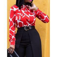Print Color Block Lapel Long Sleeve Buttons Womens Blouse - My style Blouse Models, Fashion Gallery, Blouse Online, African Fashion, Lady In Red, Blouses For Women, Fashion Outfits, Hot Outfits, Long Sleeve
