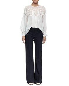 -6JS3 Chloe Long-Sleeve Medallion-Inset Blouse, Milk Wool Boot-Cut Pants, Navy