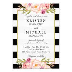 Beautiful Floral Classy Stripes Formal Wedding