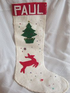 A Stocking for Paul Vintage Felt Christmas by MendozamVintage, $7.99