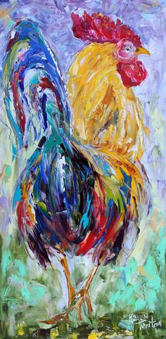 Original oil painting palette knife Regal #Rooster by Karensfineart