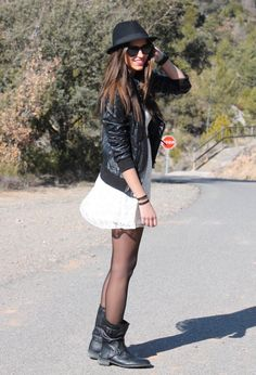 Longer skirt, cute boots, but basically what I want. #rock #style