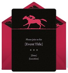 Stylish Kentucky Derby online invitations you can personalize and send via email. Online Invitations, Digital Invitations, Party Invitations, Invites, Horse Racing Party, The Belmont Stakes, Crown Party, Derby Party, Work Party