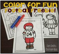 Fern Smith's Classroom Ideas Freebie Friday ~ Color For a Fun Football Fall #Freebie #TPT.