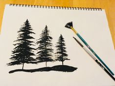 Painting trees with a fan brush and a tiny brush is very easy with this simple technique! Learn how to paint EASY acrylic paint silhouette trees.