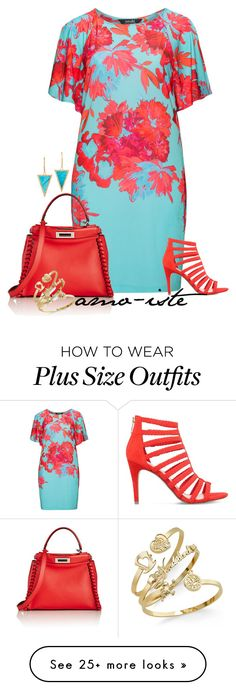 """Summer Bright - Plus Size"" by amo-iste on Polyvore featuring navabi, KG Kurt Geiger, Fendi and Jennifer Meyer Jewelry"