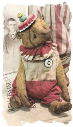 "Image of CLOWN BEAR - Antique Style - PETITE 7"" Old Clown Bear Pouty Face * By Whendi's Bears"