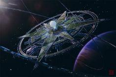 Polaris Engine by Julian-Faylona on DeviantArt Spaceship Art, Spaceship Design, Spaceship Concept, Futuristic City, Futuristic Architecture, Fantasy City, Sci Fi Fantasy, Space Opera, Rpg Map