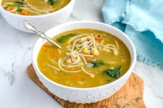 Chickpea soup for the soul...and for when you're under the weather. This vegan chickpea noodle soup is ready in under 30 minutes and it's gluten free ...