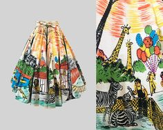1950s Hand Painted Mexican Circle Skirt Zoo