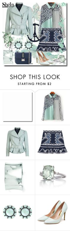 """""""SheIn Green Striped Blouse"""" by emperormpf ❤ liked on Polyvore featuring moda, Alexander McQueen, Peter Pilotto, Kevin Jewelers, Belk & Co., Color My Life, Rupert Sanderson, Valentino, women's clothing e women"""