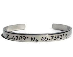 Latitude Longitude, Deployment Bracelet, Military Wife, Military Girlfriend, Military Gift, Military Jewelry, Army, Marines, Navy, Air Force