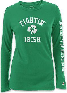 University of Notre Dame Women's Long Sleeve T-Shirt   University Of Notre Dame