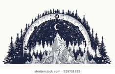 Mountain antique compass and wind rose tattoo. Adventure, travel, outdoors art symbols. Boho style, t-shirt design