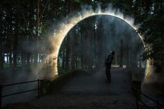 "[orginial_title] – Mauricio Cordel A Sculptural Arch Of Mist Has Been Installed In Japan Australian artist James Tapscott was commissioned by the Japan Alps Art Festival to great a site-specific art piece, which he named ""ARC ZERO – NIMBUS"". Landscape Lighting, Landscape Art, Landscape Architecture, Landscape Design, Architecture Design, Land Art, Bühnen Design, Light Art Installation, Art Installations"