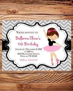 Ballerina Birthday Party Invitation, GIRL, Chevron Stripes, Ballerina Birthday Party Invitation, Birthday invitation, gray. $20.00, via Etsy.