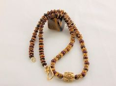 Tiger Eye Tiger Iron Vermeil NecklaceWood by DMCJewelryCentralFL, $200.00