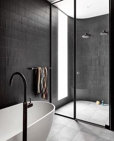"""STUDIO BLACK INTERIORS on Instagram: """"A whole lot of bathroom sexiness right here... curves, skylights and kit kat tiles 🖤  Interiors by @woodsbagot Building developer…"""" Wc Bathroom, Bathroom Renos, Laundry In Bathroom, Bathroom Goals, Modern Bathroom, Bathroom Ideas, Restroom Design, Bathroom Interior Design, Home Interior"""