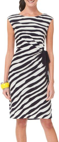 Connected Apparel Stripe Tie Faux Wrap Dress (bestseller)