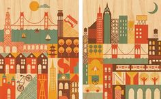 San Francisco (Left) and New York City (right).  Petit Collage print on sustainably harvested maple veneer.