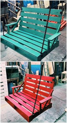 This is a colorful and much magnificent designed piece of the pallet swing which you would be loving it out for sure. This swing has been completely all the more arranged with the planks arrangement over top of one another with the support of steel wire hanging along with it.