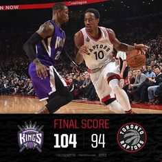 A 22-point first half deficit was too much for the Raps as they fall to the Kings.  DeMar DeRozan w/ 28 & 7 and Patrick Patterson w/ 18 & 8 in the loss.  12/20/2015
