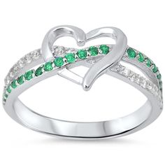 Promise Ring crisscross infinity Heart Ring Solid 925 Sterling Silver Alternating Round Emerald Green Diamond Clear CZ Heart Engagement Gift