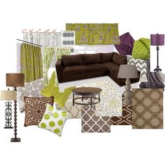 Warm Living Room Ideas- color scheme brown, green, purple, gray, black, taupe