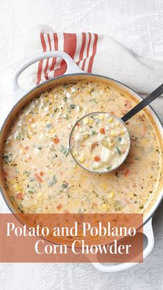 Potato and Poblano Corn Chowder: While you could make this spicy take on corn chowder with frozen corn, it's best with fresh. Chowder Recipes, Soup Recipes, Dinner Recipes, Cooking Recipes, Crockpot Recipes, Spicy Corn Chowder Recipe, Potato Corn Chowder, Easy Cooking, Gazpacho