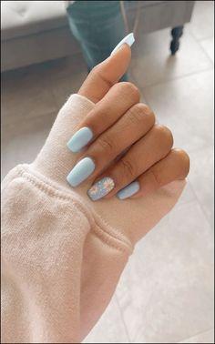 91 simple short acrylic summer nails designs for 2019 page 13 Nageldesign Nail Art Nagellack Nail Polish Nailart Nails Simple Acrylic Nails, Acrylic Nail Designs For Summer, Acrylic Nails Pastel, Blue Nail Designs, Acrylic Nails Designs Short, Designs For Nails, Pastel Blue Nails, Colorful Nails, Blue Nails Art