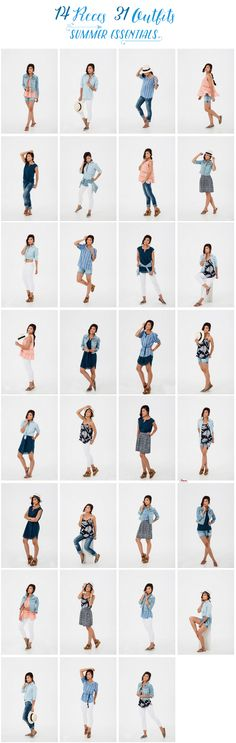 To get you ready for your summer activities here are your 14 summer essentials. These 14 summer essentials are mixed & matched to make 31 summer outfits!