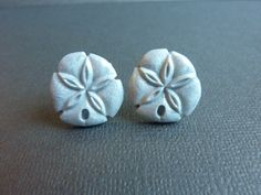 Silver Sand Dollar Stud Earrings Polymer by KristalsKreations20, $6.00