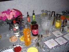 At home martini party for girls night! Printed recipes, ice  bucket, shakers, vodka and mixers!