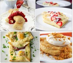 8 Crepe Recipes (most of these are sweet, and they're more breakfast/desert crepes, but they all sound delicious)