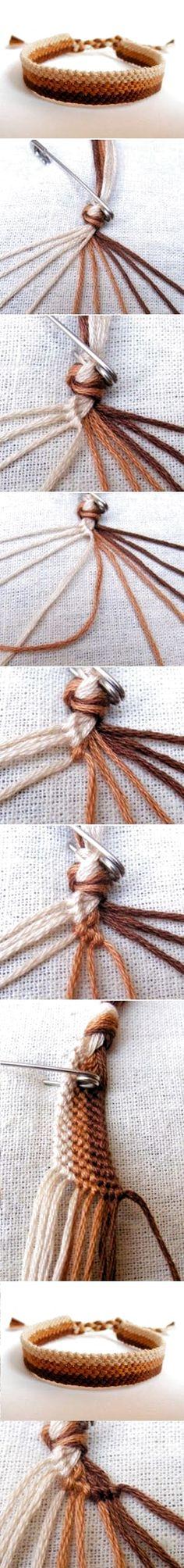 Diy easy weave bracelet diy crafts tutorials diy by bleu Bracelet Crafts, Jewelry Crafts, Crochet Bracelet, Friendship Bracelet Patterns, Friendship Bracelets, Hemp Bracelet Patterns, Woven Bracelets, Braclets Diy, Knotted Bracelet