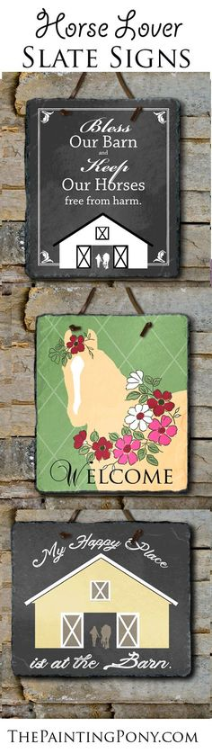Horse Lover Slate Wall Signs - equestrian home decor. Cute slate wall hangings and art perfect for anyone who loves horses, ponies, and horseback riding! Personalized at no extra cost! Cute custom house warming or newly-wed wedding gift for the horse lover.