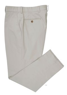 Luxire dress pants constructed in Pale Grey Cream Soft Plain Chinos: http://custom.luxire.com/products/pale_grey_cream_soft_plain_chinos  Consists of standard extended closure, standard waist loop, two welt rear pockets.